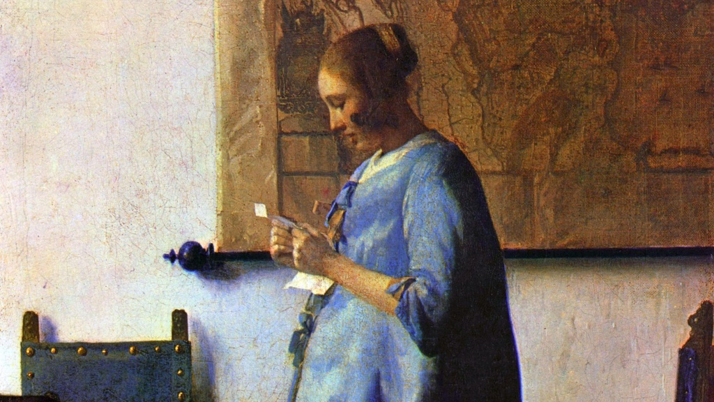 London Art Studies Johannes Vermeer Woman in Blue Reading a Letter