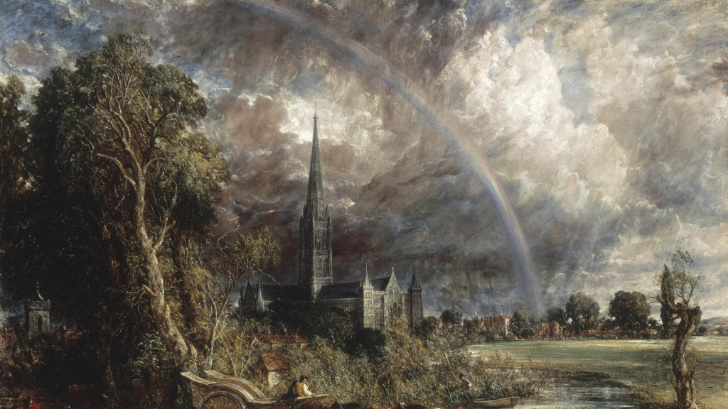 Painting of a rainbow by John Constable