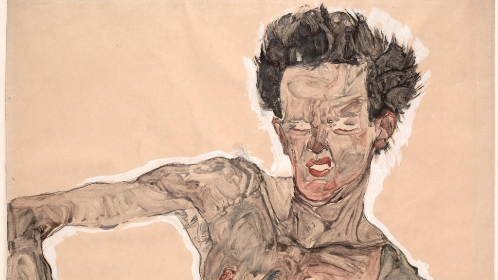 Egon Schiele painting called Nude Self Portrait, Grimacing. London Art Studies.