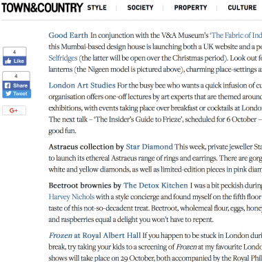 Town & Country Magazine featuring London Art Studies