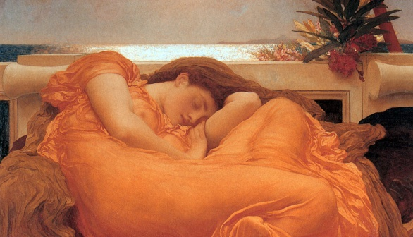 The colour orange in Frederic Leighton's Flaming June.